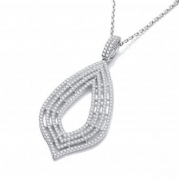 "J-Jaz Micro Pave' Cz Large Drop Pendant with 18"" Chain"